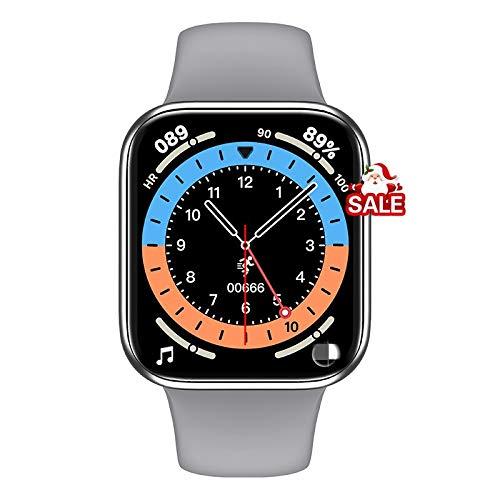Largo 44mm Smart Watch Pantalla táctil Completa Fitness Tracker Presión Arterial Llamada Bluetooth Llamada SmartWatch PK IWO12 W46 FK88, Monsteramy (Color : Silver)