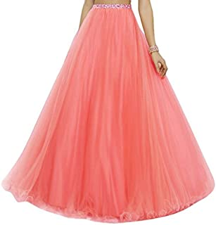 Generic Women's Nirwana Long Skirt with Soft Net Material Having Cotton Lining with Cane Inside