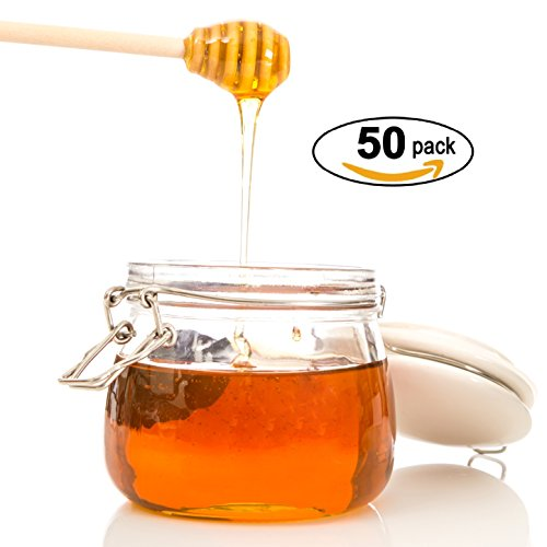 """Honey Dipperz 50 PACK - 6"""" Inches Long (16cm) Wooden Honey Dipper Drizzler Stirring Stick, Spoon Rod Muddler Dispense, Great gift for Parties, Wedding, Baby Showers"""