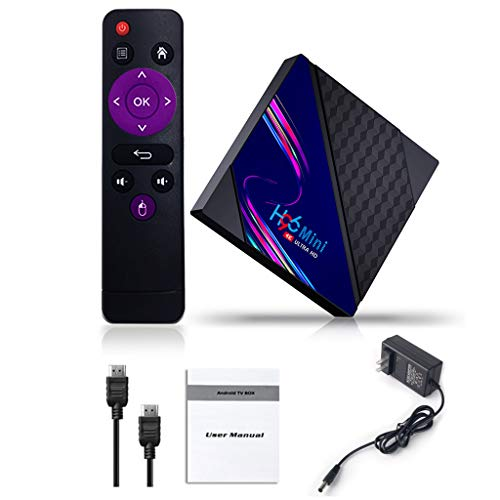 lyqdxd H96 Tv Box -Android, H96mini RK3318 -Android 10.0 Smart TV Box 2.4G&5G Dual WiFi BT4.0 Media Player, 1/2GB-RAM 8/16GB ROM