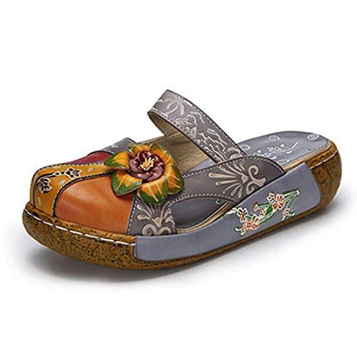 WZHZJ Zapatos de Mujer Zapatillas de Plataforma Plana Cuero Genuino Hecho a Mano Cubierta de Flores Dedos de los pies Cómodas Diapositivas (Color : Gray, Size : #42)
