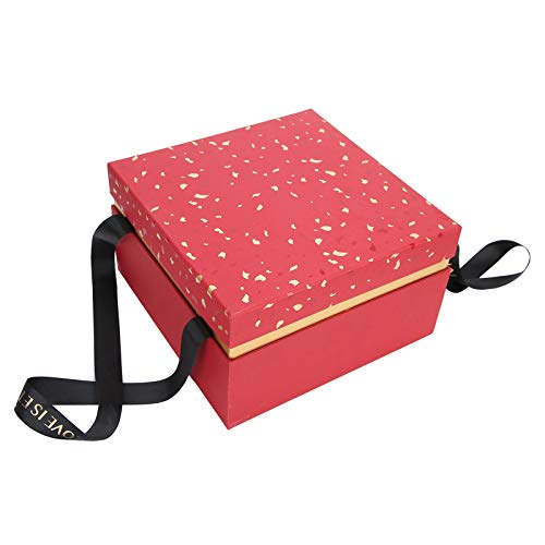 Mxzzand Caramelos Materiales de Papel Que destacan Caja de Regalo de Boda Elegante Caja de Almacenamiento de Regalo, Perfume Joyas(Red [Single Gift Box])