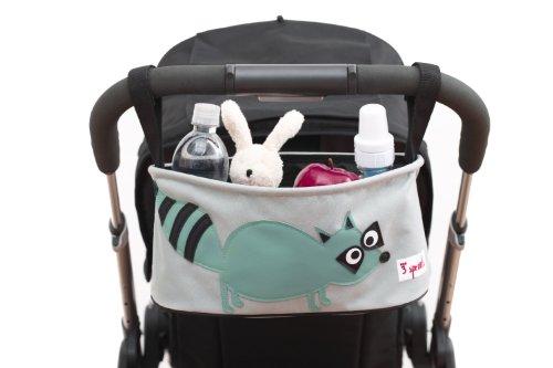 3 diseño de brotes rejilla para carrito de bebé organizador de CD y DVD, dos con un gran aislamiento de bebida con soporte de los sostenedores de la y de la de bolsillo de discreta y elegante, de la: impresión de huella de mapache