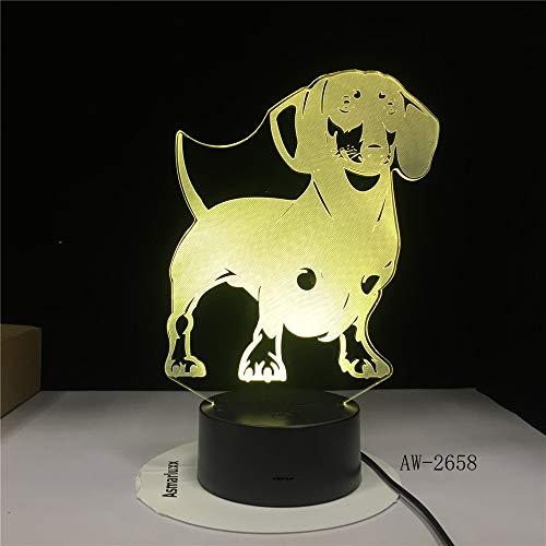 Dachshund Raza lámpara de ilusión óptica lámpara Hecha a Mano Salchicha Perro Mascota Cachorro Decorativa Noche luz Color