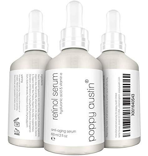 Retinol Serum - RIESIG 60ml - Vegan, Cruelty-Free, Organisch - 2,5% Retinol, Vitamin E, Hyaluronsäure & Jojobaöl - Bestes Anti-Aging-Serum für Gesicht, Nacken & Augen