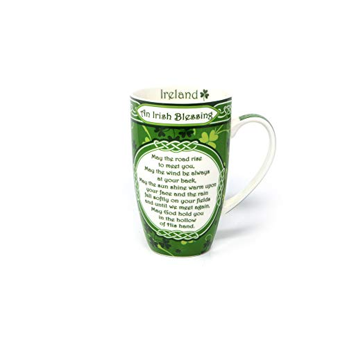 Shamrock 'May the Road Rise to Meet You' Bone China Coffee Mug