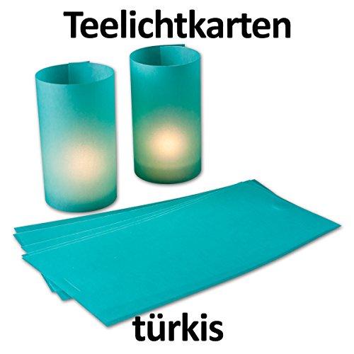10 Stück - Teelicht-Karte/Windlichtkarte aus transparentem Kartonpapier - Türkis - - bemalbar und bedruckbar