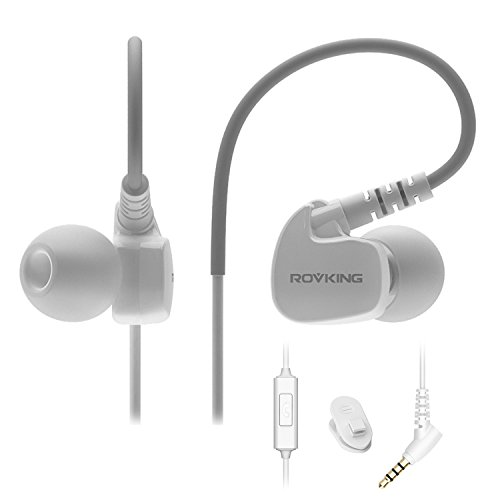 ROVKING Wired Sweatproof Earhook in Ear Sport Workout Headphones Noise Isolating Over Ear Earbuds with Microphone for Running Jogging Gym Exercise Earphones for Android Samsung Cell Phone MP3 White