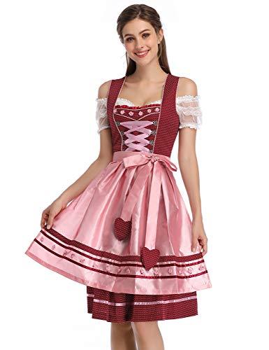 KOJOOIN Traditionell klänning Dirndl kort damer midi för oktoberfest 3-delad – tre delar: klänning, blus, förkläde