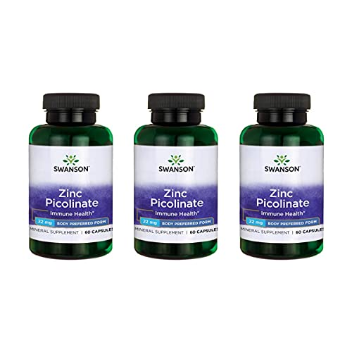 Swanson Zinc Picolinate Body Preferred Form Immune Support Prostate Health Vision Support 22 Milligrams 60 Capsules 3 Pack