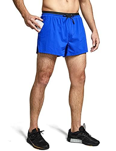 BALEAF Men s 4  Athletic Running Shorts Mesh Quick-Dry with Liner & Zipper Pocket Blue M