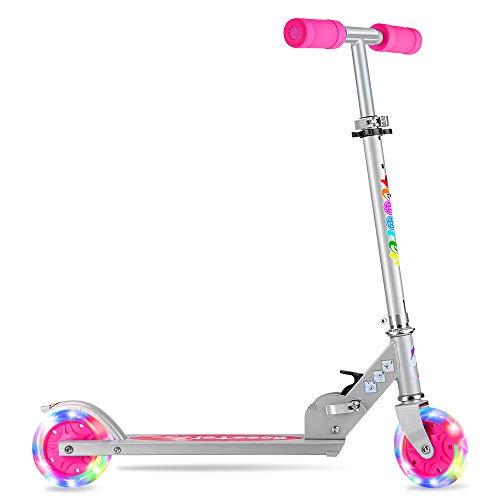 BELEEV Kinder Roller 2 Räder, Verstellbare Kinderroller Tretroller Cityroller für Mädchen & Jungen, Klappbar Tragbar Roller Scooter mit LED Leuchträdern für Kinder (Pink)