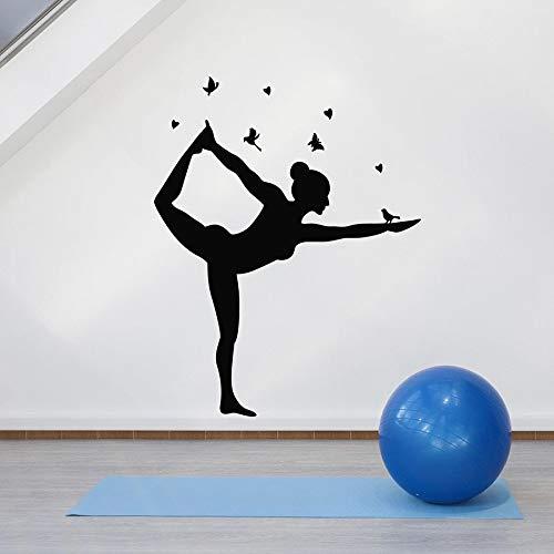 WERWN Pose de Yoga calcomanía de Pared Equilibrio Sala de meditación Mariposa pájaro decoración de Interiores Puerta y Ventana Pegatina de Vinilo Pose Arte Mural