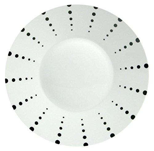 H&H H&H Finland Plat avec décoration à Pois, en céramique, Blanc et Noir, 27 x 27 x 3 cm