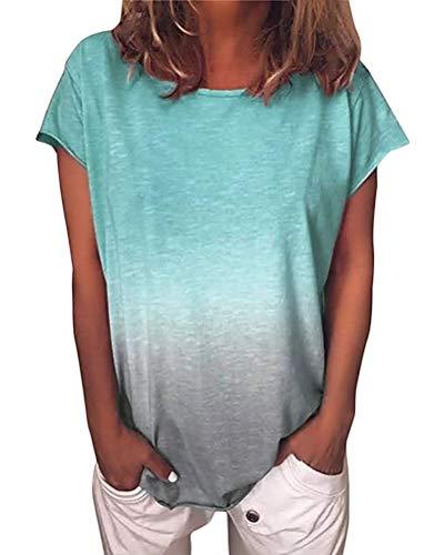 Yidarton T-Shirt Damen Kurzarm Sommer Casual Farbverlauf Tops Lose Tees Shirts Rundhals Oberteil (See Grün, M)
