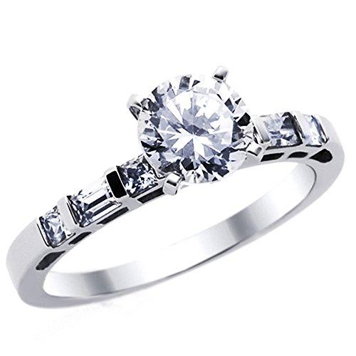 14 karaat Wit Goud Verlovings Ring 1.2ctw Zirkonia Cubic Zirkonia Rond Solitaire W/Baguette Accents Ring
