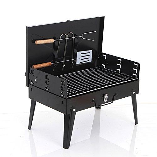 YUMUO Portátil Plegable Parrilla, Aire Libre Barbacoa de carbón Barbecue Herramienta Patio Trasero portón Trasero Partido Camping Comidas al Aire Libre BBQ-Negro 44x29x22cm(17x11x9inch)