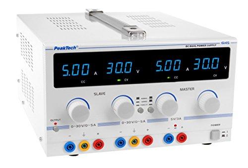 Fuente de alimentación de doble controlado de laboratorio lineal, de PeakTech, 2 de 0-30V / 0-5A DC 5 V / 3 A de tensión fija y transformador de seguridad, 1 unidad