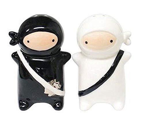 180 Degrees Pj0345 Japanese Ninja Kids Salt & Pepper Shaker Set, Black and White by 180 Degrees