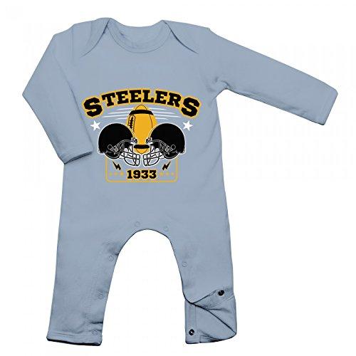 Shirt Happenz Steelers Babybody | 1933 | Super Bowl | American Football | Langarm | Langärmliger Strampler, Farbe:Babyblau (Dusty Blue BZ13);Größe:3-6 Monate