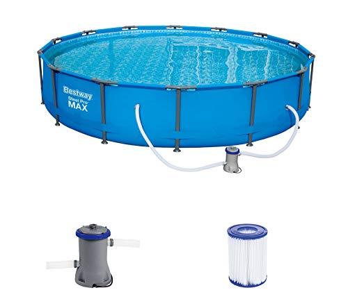 Bestway Steel Pro MAX Pool Set 427x84 cm, Frame Pool rund mit stabilem Stahlrahmen im Komplett-Set, blau