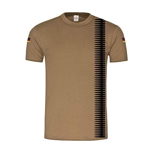 BW Tropen MG Patronen-Gurt 7,62 x 51mm Bundeswehr Deko NATO T-Shirt #36300, Größe:XL, Farbe:Khaki
