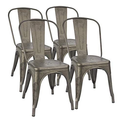 Furmax Metal Dining Chairs Set of 4 Indoor Outdoor Patio Chicken 18 Inch Seat Height Trattoria Chic Bistro Cafe Side Stackable,Gun