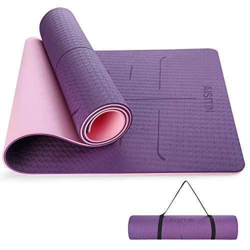 AISITIN Yogamatte rutschfest Faltbar Sportmatte Fitnessmatte (183 * 66 * 0.8cm), Hilfslinien Licht Gymnastikmatte Dicke Trainingsmatte für Yoga Pilates Kinderturnen etc mit Tragegurt und Tragetache
