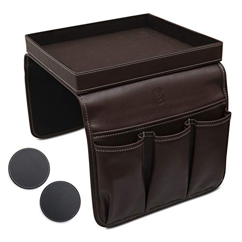 GLOCHYRA Sofa Armrest Organizer PU Leather Remote Control Holder for Recliner 5 Pockets Armchair Caddy for Magazines Phone iPad with Detachable Arm Tray Comes with 2 Piece Coaster Brown