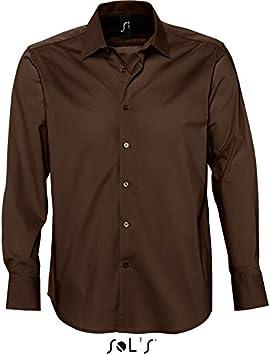 SOLS Hombre, Manga Larga Camisa elástico de la Marca Francesa Fit Style Body (Corte Marcado) en los 5 Colores y Las Tallas S, M, L, XL y XXL