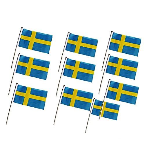10pcs De La Bandera Sueca Oficina Miniatura Escritorio Y Poca Mano De Mesa Que Agita Banderas (14 * 21 Cm) Bandera Bunting