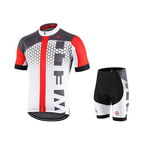 GWELL Männer Fahrradtrikot Set Fahrradbekleidung Atmungsaktiv Fahrrad Trikot Kurzarm + Radhose mit 3D Sitzpolster Weiß L