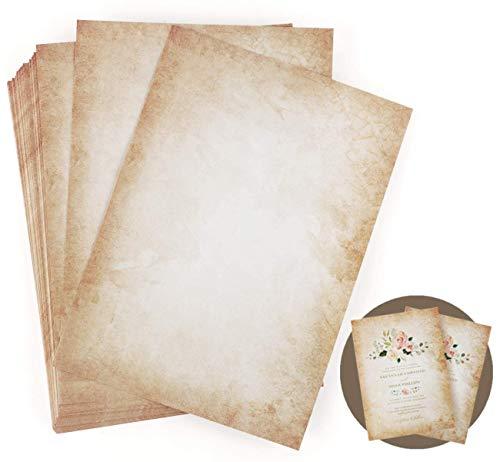 LATERN 50 Blatt Briefpapier Altes Papier Vintage, A4 Beidseitig Altes Papier Edle Briefpapiere im Vintage Look im Set 100g/m² Briefpapier Vintage Zum Schreiben und Drucken