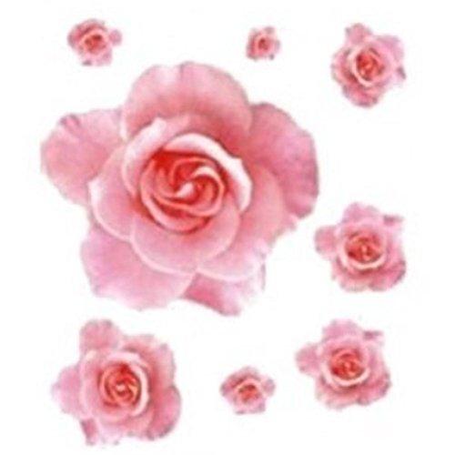 Saingace Fashion Wall Sticker 3D Pink Rose Flower Removable Home Decor Decal Vinyl