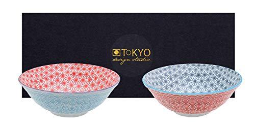 TOKYO design studio Star Wave 2-er Schalen-Set bunt, Ø 21 cm, ca. 1000 ml, asiatisches Porzellan, Japanisches Design mit bunten Mustern, inkl. Geschenk-Verpackung