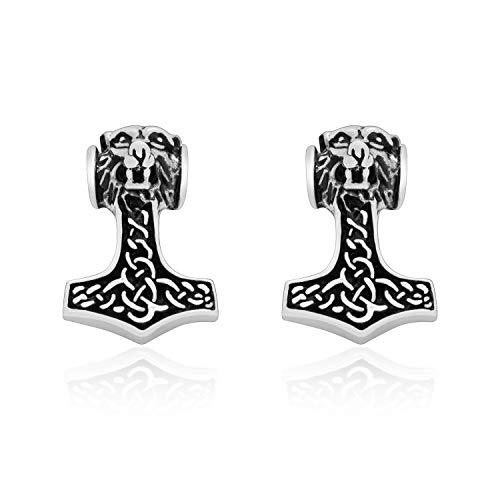 925 Sterling Silver Viking Thor Hammer Mjolnir Wolf Celtic Knotwork Stud Earrings Set