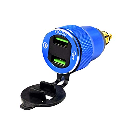 mooderff Quick Charge 3.0 USB autolader auto inbouwbus 12V / 24V waterdicht sigarettenaansteker adapter met LED voltmeter batterij spanningsindicator voor motorfiets boot vrachtwagen ATV blauw