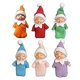 WAITLOVER Muñeca de bebé reborn de 6 piezas, bebé elfo de Navidad con brazos maniquí, muñeca realista de vinilo de silicona para regalo con chupete