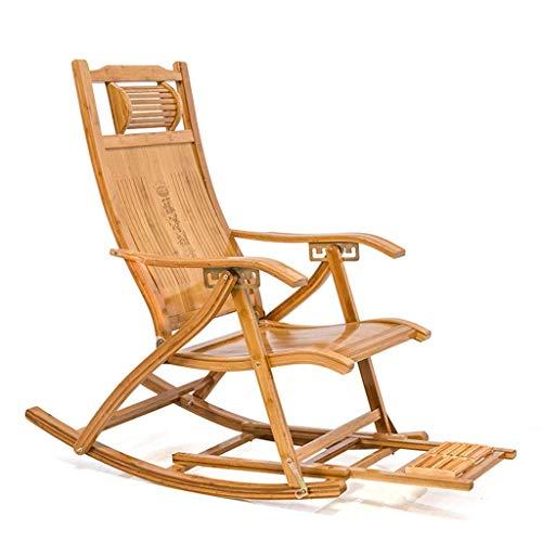 Liegestuhl Garten Schaukelstuhl Bambus Klappliege Außenverstellbare Armlehne Sonnenliege Wippe Schwerelosigkeit Klappbarer Liegestuhl mit Kopfstütze Fußstütze Max.150kg