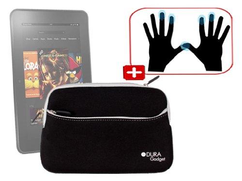 """DURAGADGET Housse étui résistant en néoprène Noir + Gants capacitifs conducteurs Taille L (Large) pour Nouvelle Tablette Kindle Fire 7"""" et Fire HD d'A"""