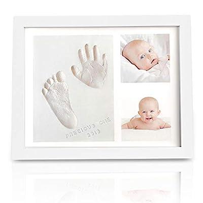 Baby Handprint Footprint Keepsake Kit - Baby Prints Photo Frame for Newborn - Baby Nursery Memory Art Kit Frames - Baby Shower Picture Frames for Baby Registry Boys,Girls (Alpine White) by KeaBabies
