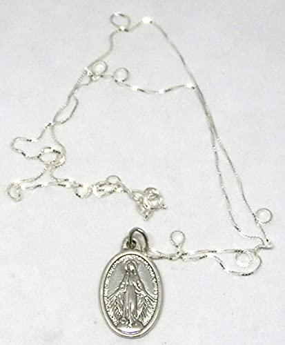 GTBITALY Medalla Virgen Milagrosa original con anillo de 2,5 cm con collar 60 cm Plata 925 Made in Italy