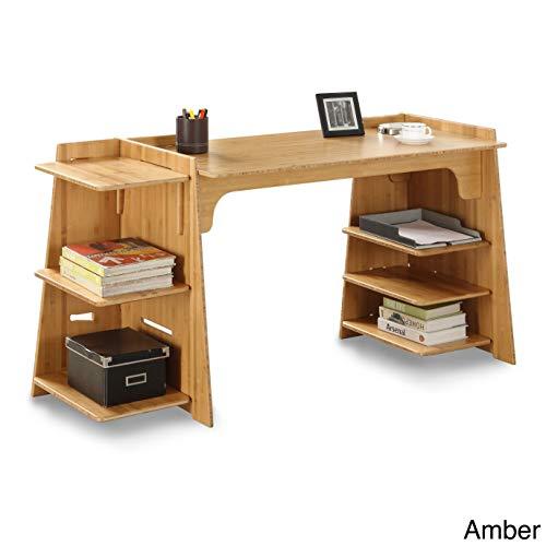 Legaré Furniture Configurable Writing Office Desk, Home Computer Desk, Amber Bamboo