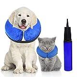 Halskrause Hund Schützender Hundekragen Aufblasbar für Haustier Schutzkragen Krägen Halskragen für Hunde und Katzen Einstellbar Bequem Schutzkragen weich Recovery Halsband Schutz, Anti-Bite/Lick, M