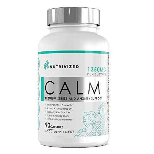 Nutrivized Calm Stress & Anxiety Relief - Sleep Aid- Adrenal & Cortisol - Fight Fatigue - Ashwagandha - Rhodiola Rosea - L-Theanine - Holy Basil - Bacopa - Lemon Balm - 90 Capsules