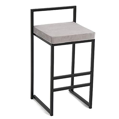 Tabourets de Bar en Flanelle Modernes chaises de siège rembourrées, Chaise de Salle à Manger carrée avec Repose-Pieds, Charge maximale 200 kg (Noir ou Gris)