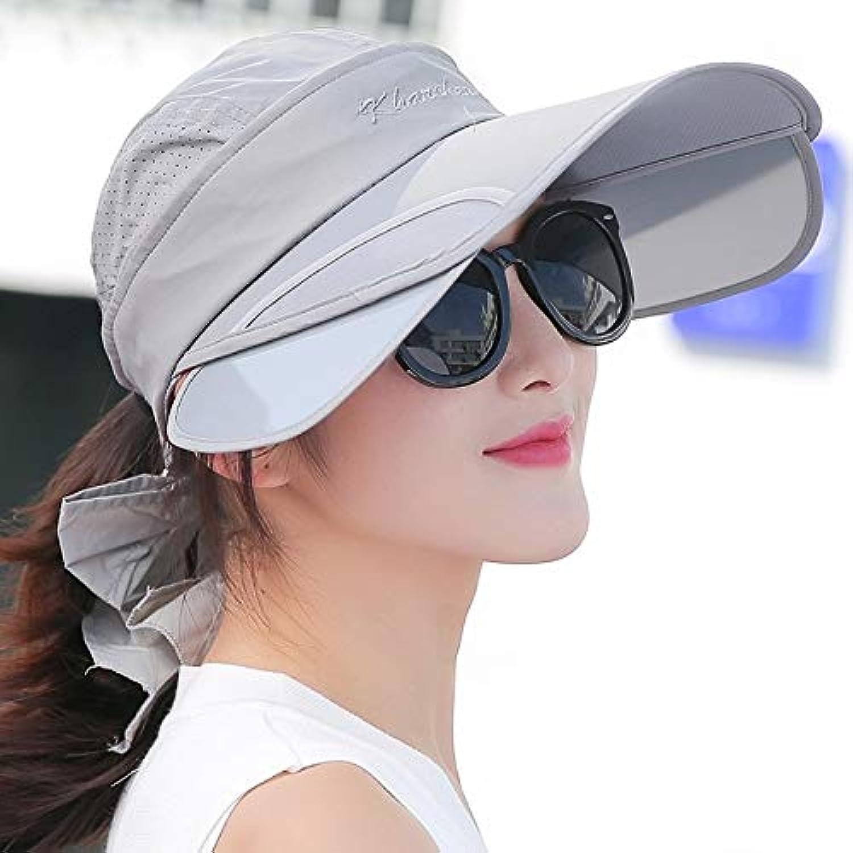 帽子キャップ レディース ガールズ 夏 UV 太陽 空トップ 格納式 電動 乗用車 太陽 大きなつば ホワイト 6956277171810