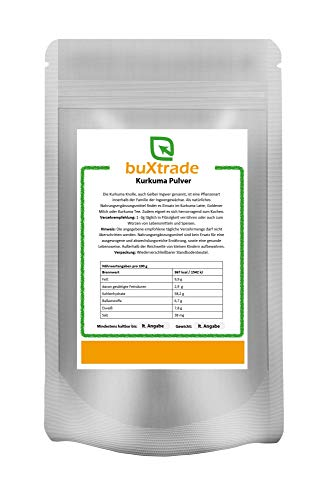 Kurkuma Pulver | Goldene Milch | Nahrungsergänzungsmittel | Pulver | Gelber Ingwer| Curcuma | Buxtrade | Verschiedene Mengen ((100 g (EUR 1,50/100 g))