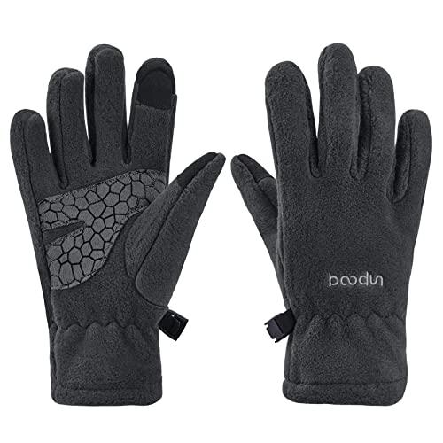 Arcweg Handschuhe Kinder Fleece Warm Laufhandschuhe Winter Gloves rutschfest Fahrradhandschuhe Touchscreen Winterhandschuhe Jungen Mädchen Fingerhandschuhe Camping Laufen Grau S-M 5-6 Jahre