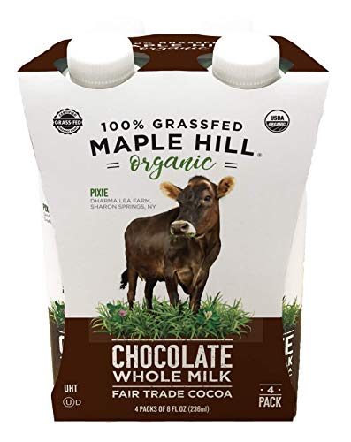 Maple Hill Shelf Stable Milk, 100% Grass-Fed, Organic, Whole Chocolate, 8 fl oz (Pack of 4)